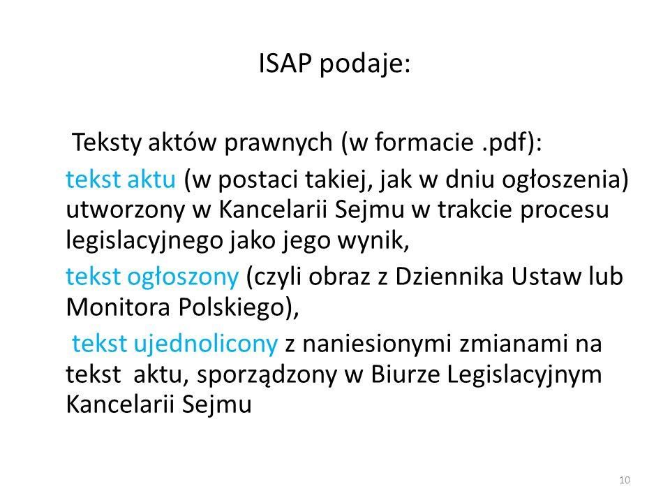 ISAP podaje: Teksty aktów prawnych (w formacie .pdf):