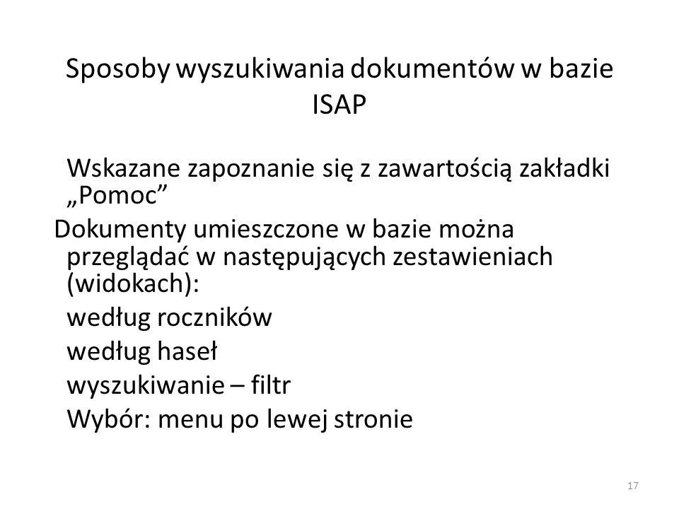 Sposoby wyszukiwania dokumentów w bazie ISAP