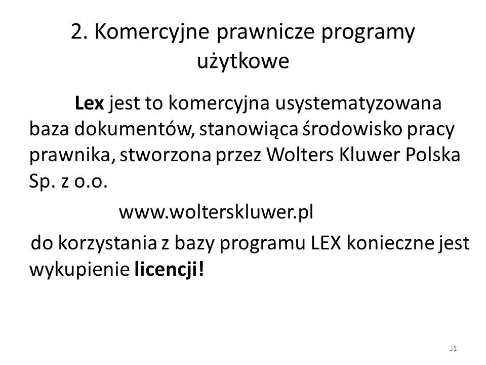 2. Komercyjne prawnicze programy użytkowe