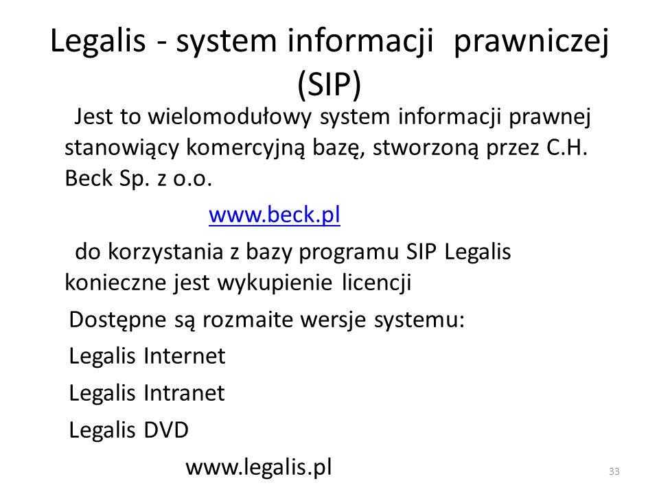Legalis - system informacji prawniczej (SIP)