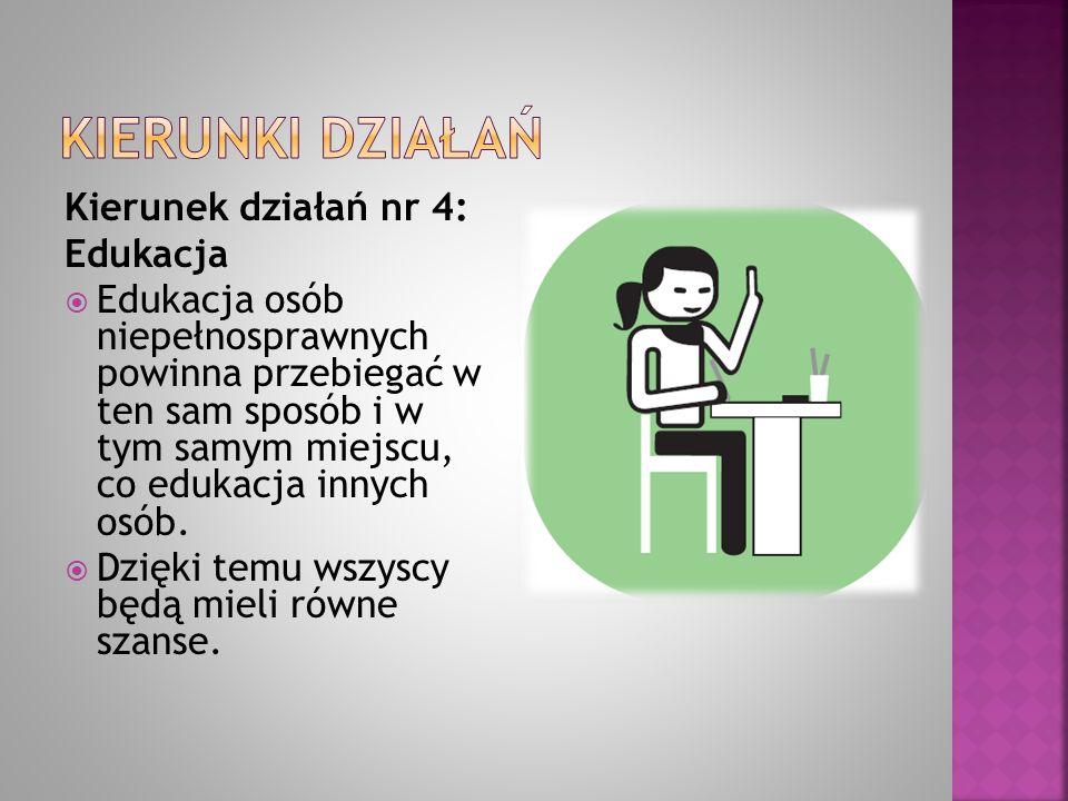 Kierunki działań Kierunek działań nr 4: Edukacja