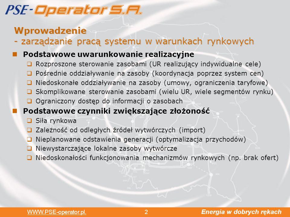 Wprowadzenie - zarządzanie pracą systemu w warunkach rynkowych