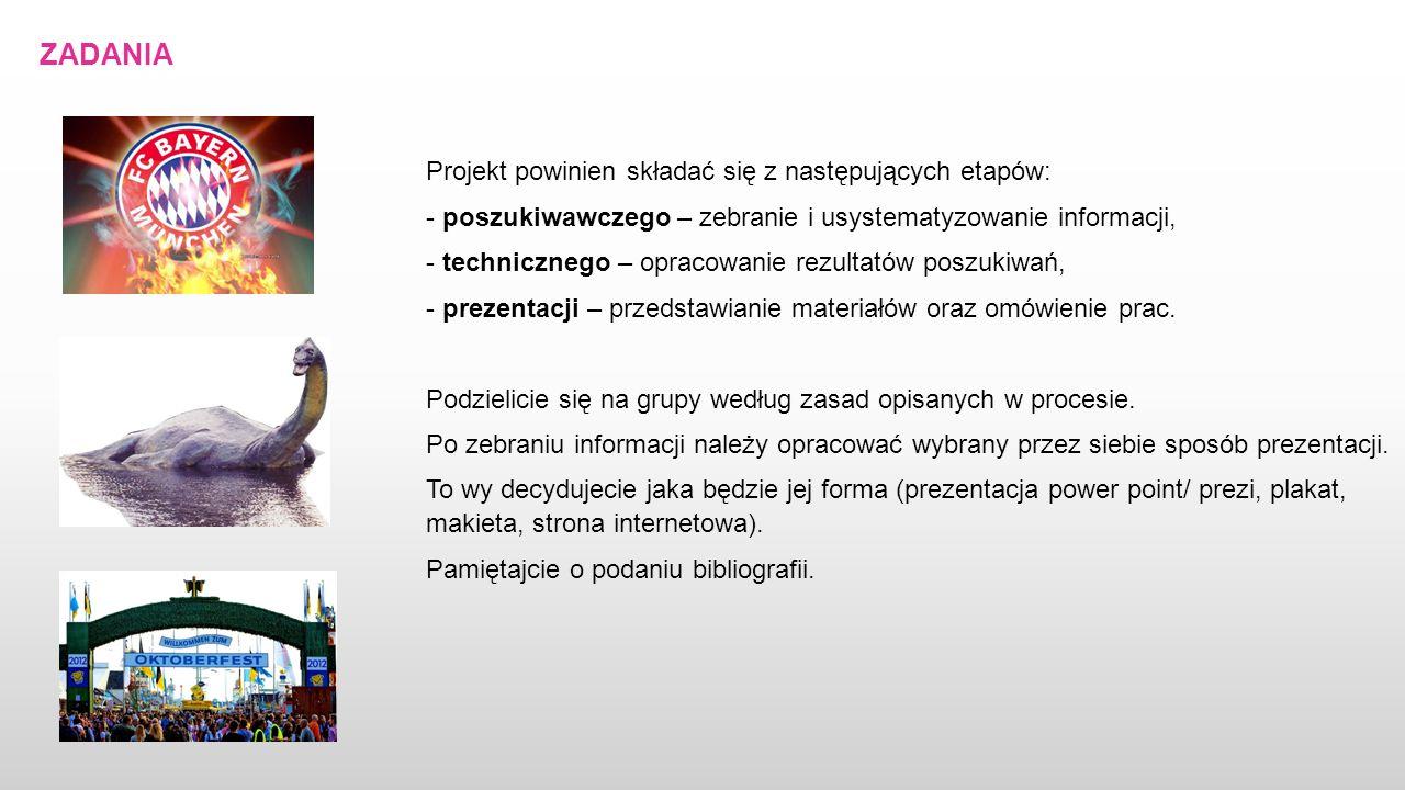 ZADANIA Projekt powinien składać się z następujących etapów: