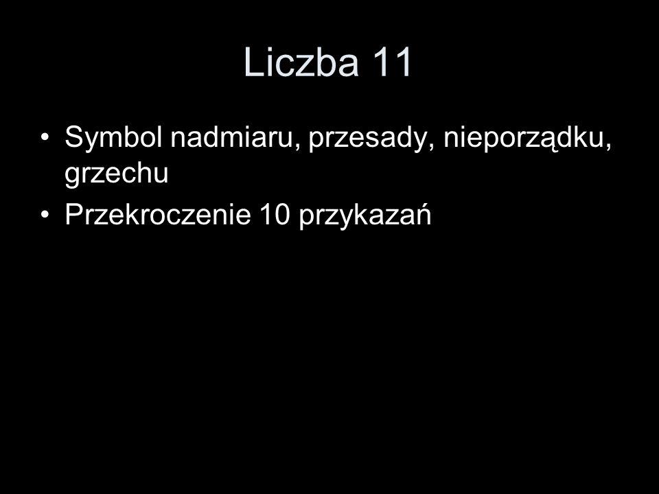 Liczba 11 Symbol nadmiaru, przesady, nieporządku, grzechu