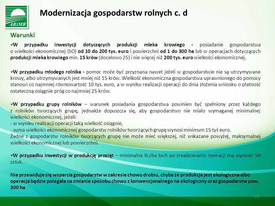 Modernizacja gospodarstw rolnych c. d