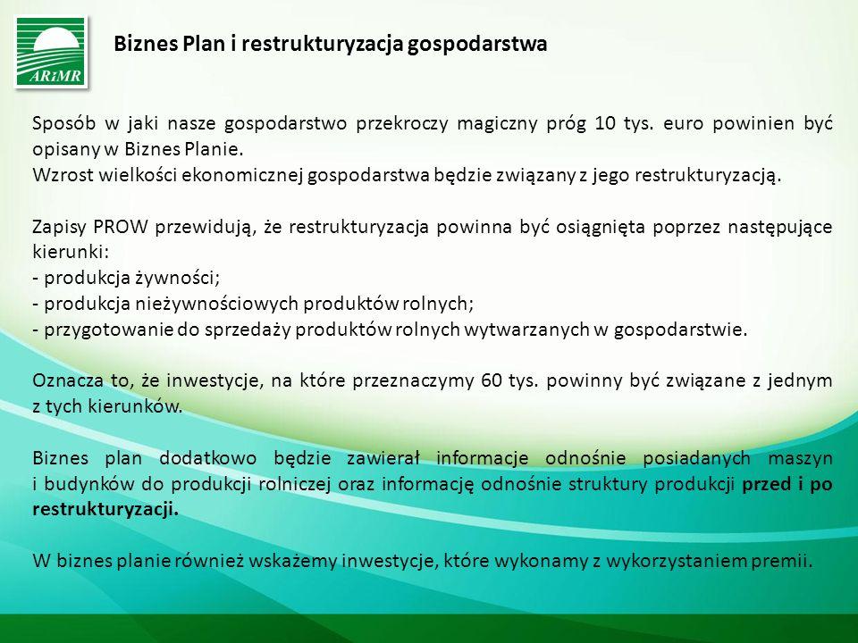 Biznes Plan i restrukturyzacja gospodarstwa