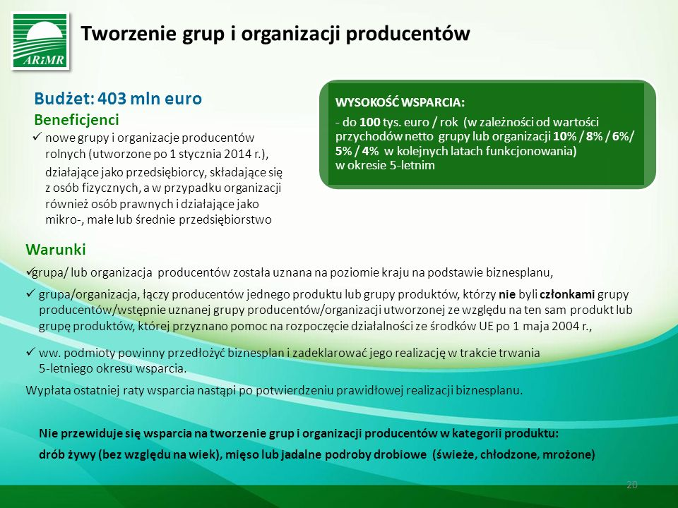 Tworzenie grup i organizacji producentów