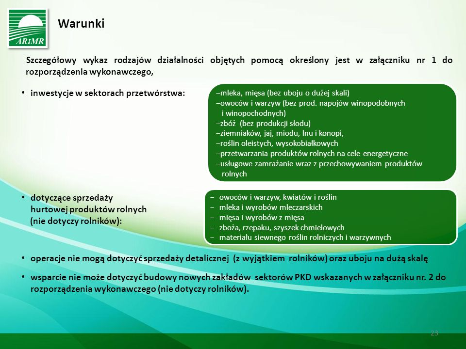 Warunki Szczegółowy wykaz rodzajów działalności objętych pomocą określony jest w załączniku nr 1 do rozporządzenia wykonawczego,