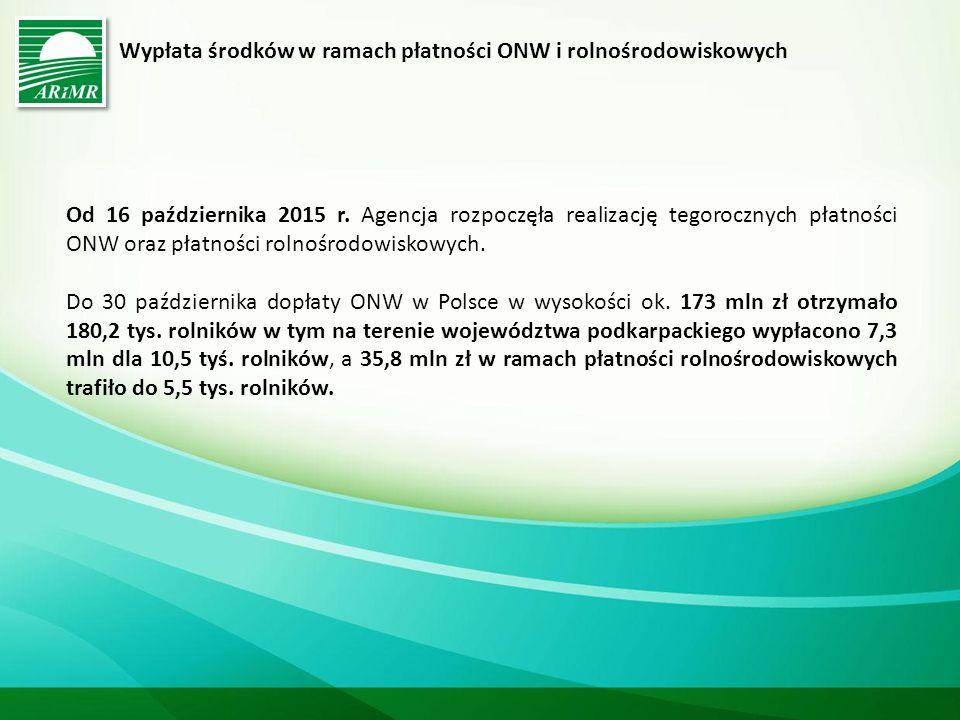 Wypłata środków w ramach płatności ONW i rolnośrodowiskowych