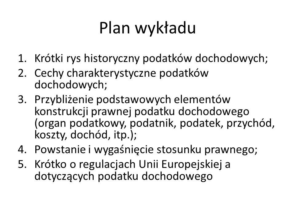 Plan wykładu Krótki rys historyczny podatków dochodowych;