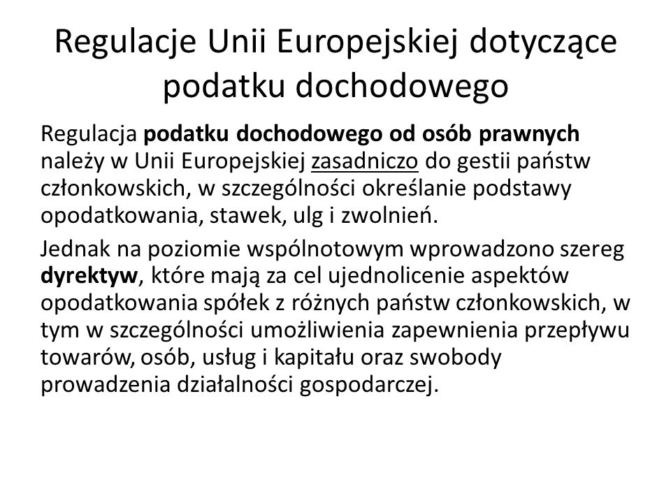 Regulacje Unii Europejskiej dotyczące podatku dochodowego