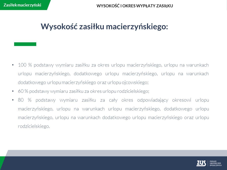 Wysokość zasiłku macierzyńskiego: