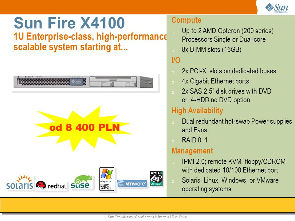 Sun Fire X4100 1U Enterprise-class, high-performance scalable system starting at...