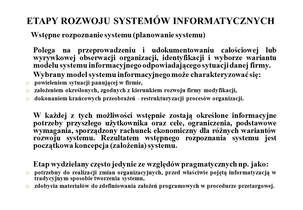 ETAPY ROZWOJU SYSTEMÓW INFORMATYCZNYCH