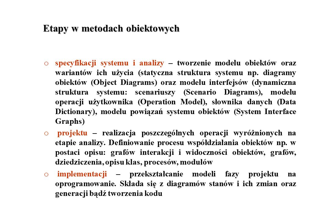Etapy w metodach obiektowych