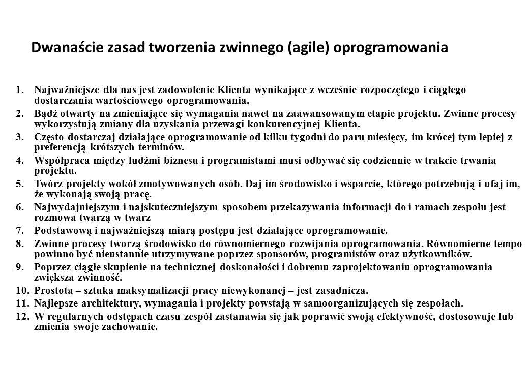Dwanaście zasad tworzenia zwinnego (agile) oprogramowania