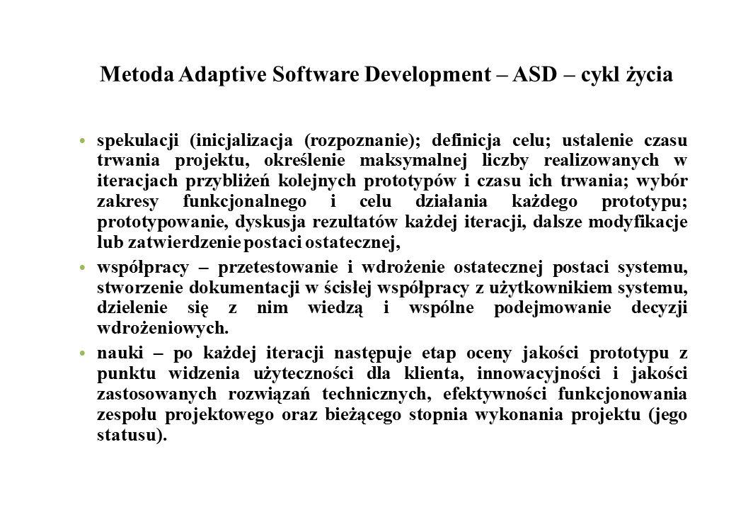 Metoda Adaptive Software Development – ASD – cykl życia
