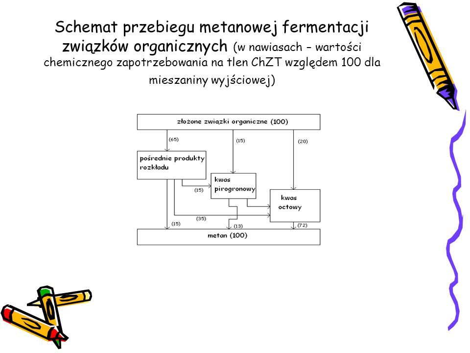 Schemat przebiegu metanowej fermentacji związków organicznych (w nawiasach – wartości chemicznego zapotrzebowania na tlen ChZT względem 100 dla mieszaniny wyjściowej)