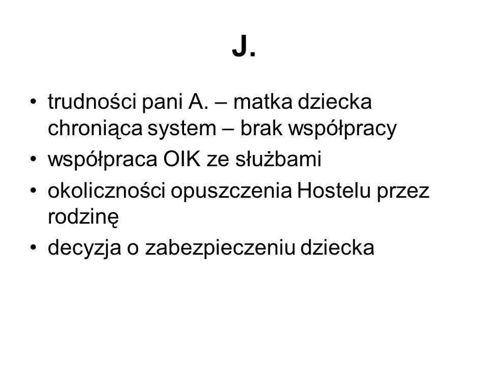 J. trudności pani A. – matka dziecka chroniąca system – brak współpracy. współpraca OIK ze służbami.