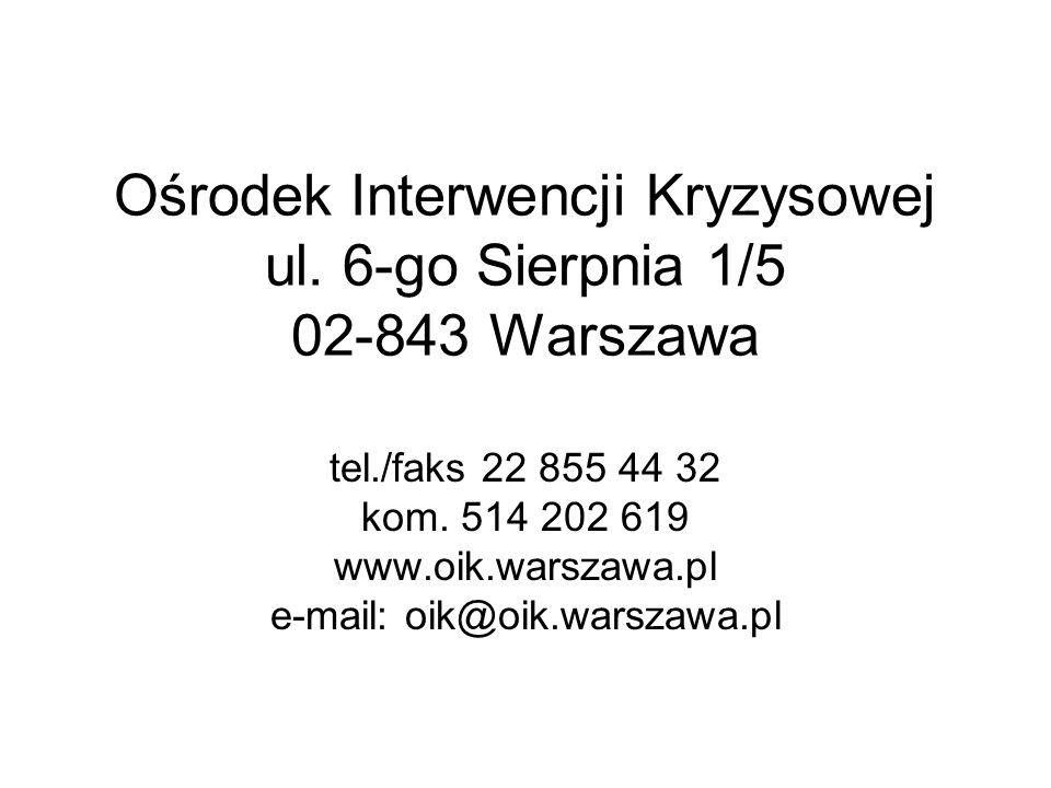 Ośrodek Interwencji Kryzysowej ul. 6-go Sierpnia 1/5 02-843 Warszawa