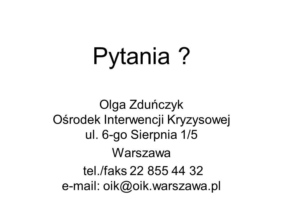 Pytania . Olga Zduńczyk Ośrodek Interwencji Kryzysowej ul.