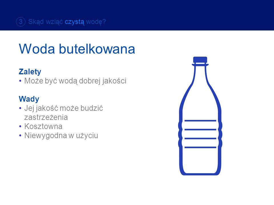 Woda butelkowana Zalety Może być wodą dobrej jakości Wady