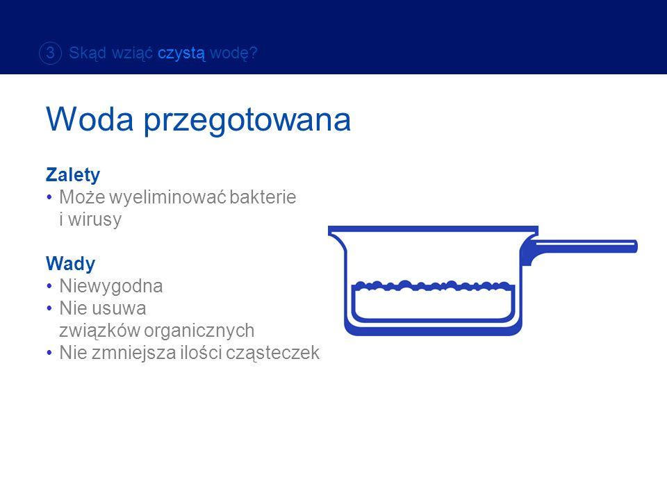 Woda przegotowana Zalety Zalety Może wyeliminować bakterie i wirusy