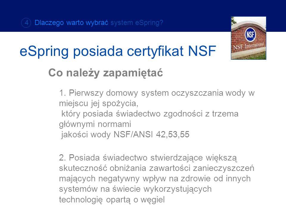 eSpring posiada certyfikat NSF
