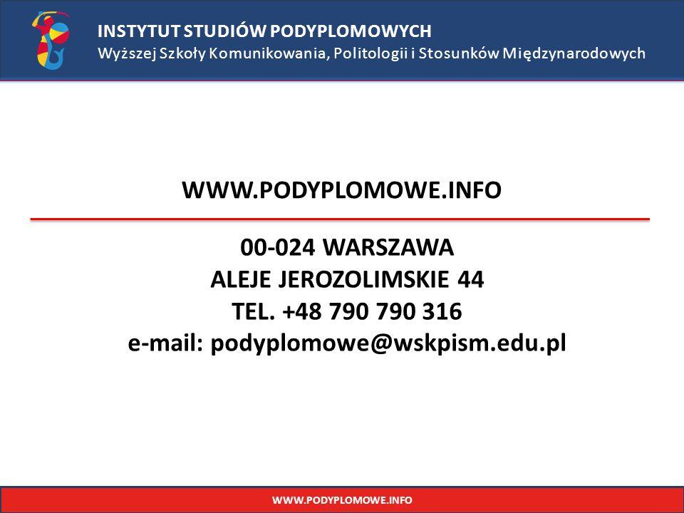 e-mail: podyplomowe@wskpism.edu.pl