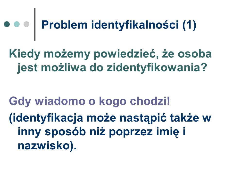 Problem identyfikalności (1)