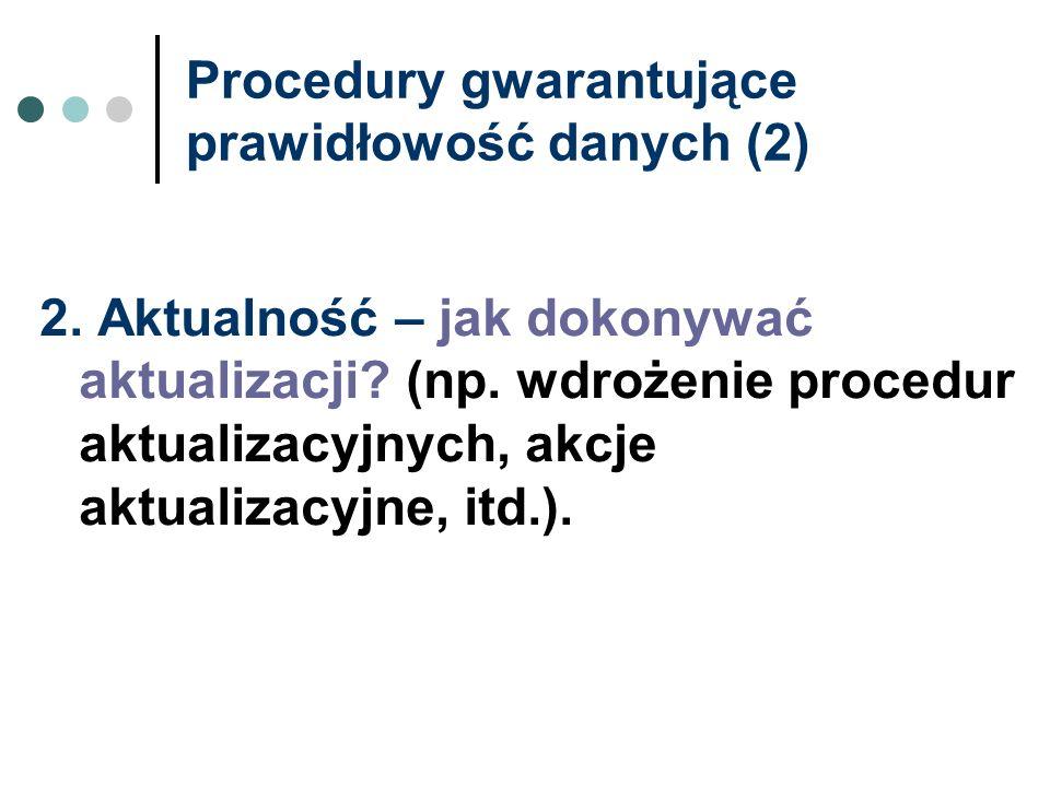 Procedury gwarantujące prawidłowość danych (2)
