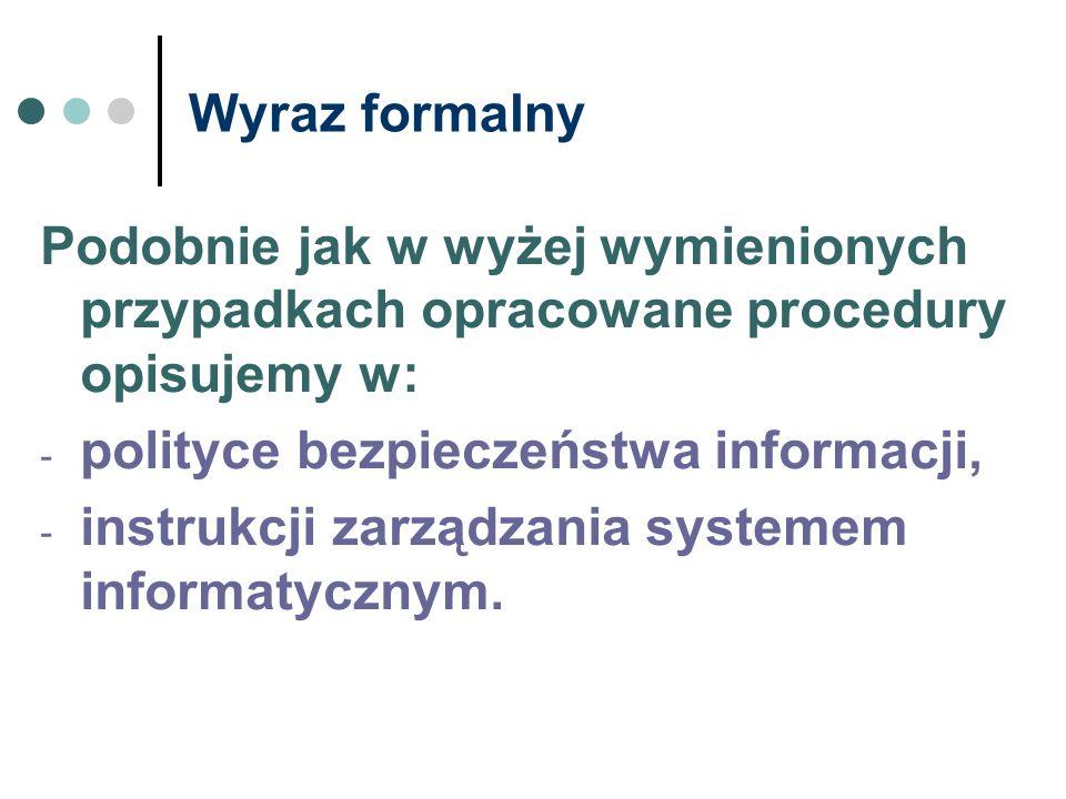 Wyraz formalny Podobnie jak w wyżej wymienionych przypadkach opracowane procedury opisujemy w: polityce bezpieczeństwa informacji,