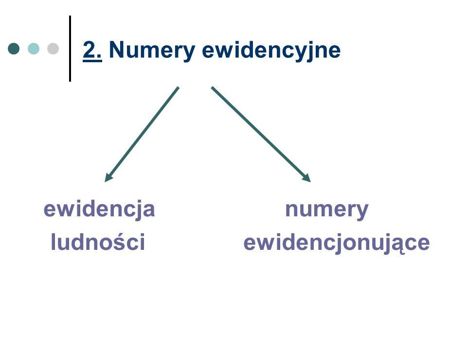 2. Numery ewidencyjne ewidencja numery ludności ewidencjonujące