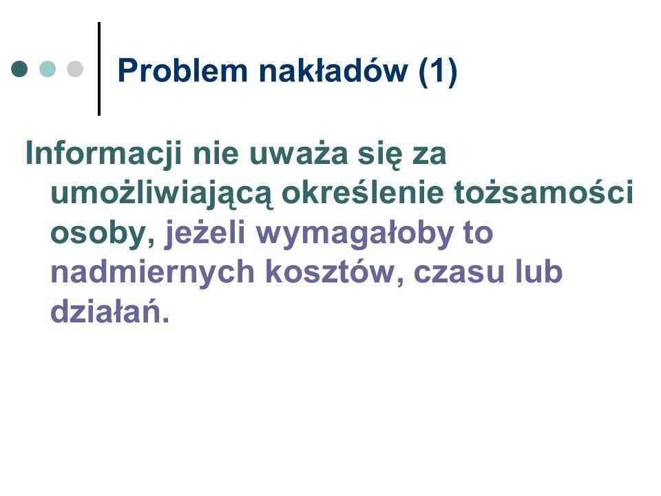 Problem nakładów (1)
