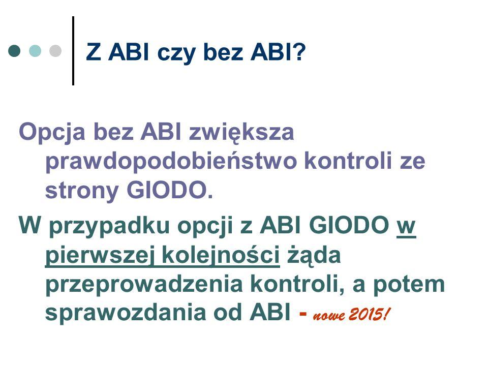 Z ABI czy bez ABI Opcja bez ABI zwiększa prawdopodobieństwo kontroli ze strony GIODO.