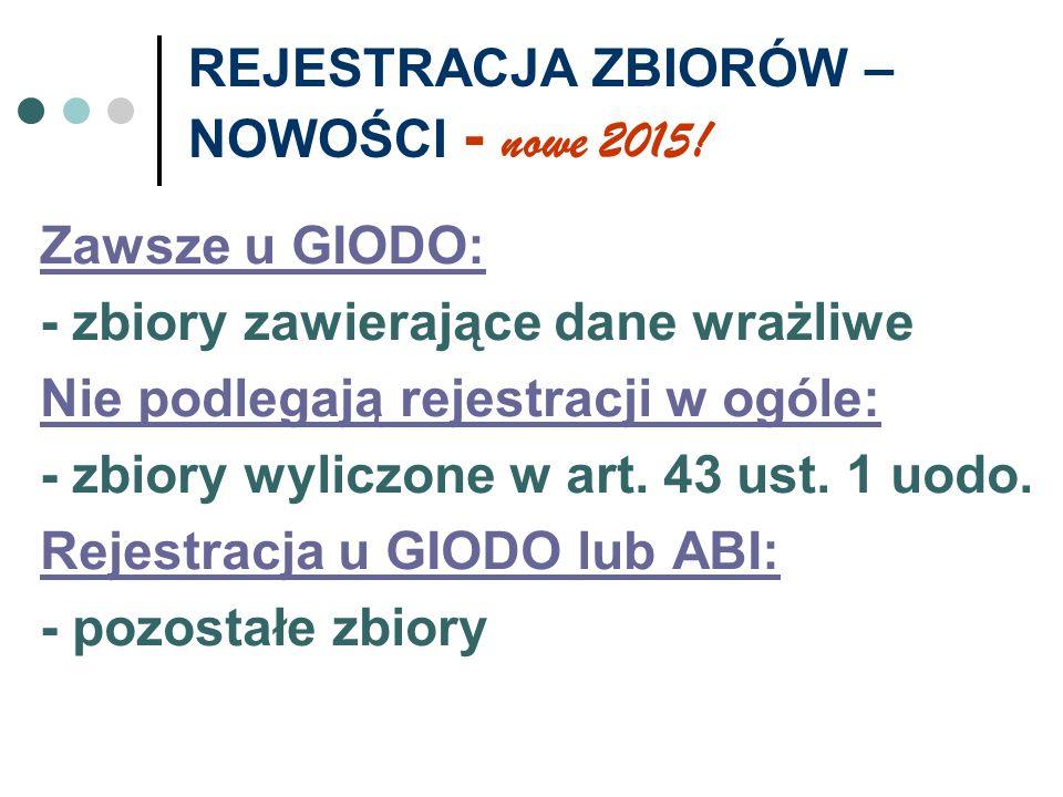 REJESTRACJA ZBIORÓW – NOWOŚCI - nowe 2015!