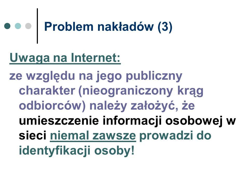 Problem nakładów (3) Uwaga na Internet: