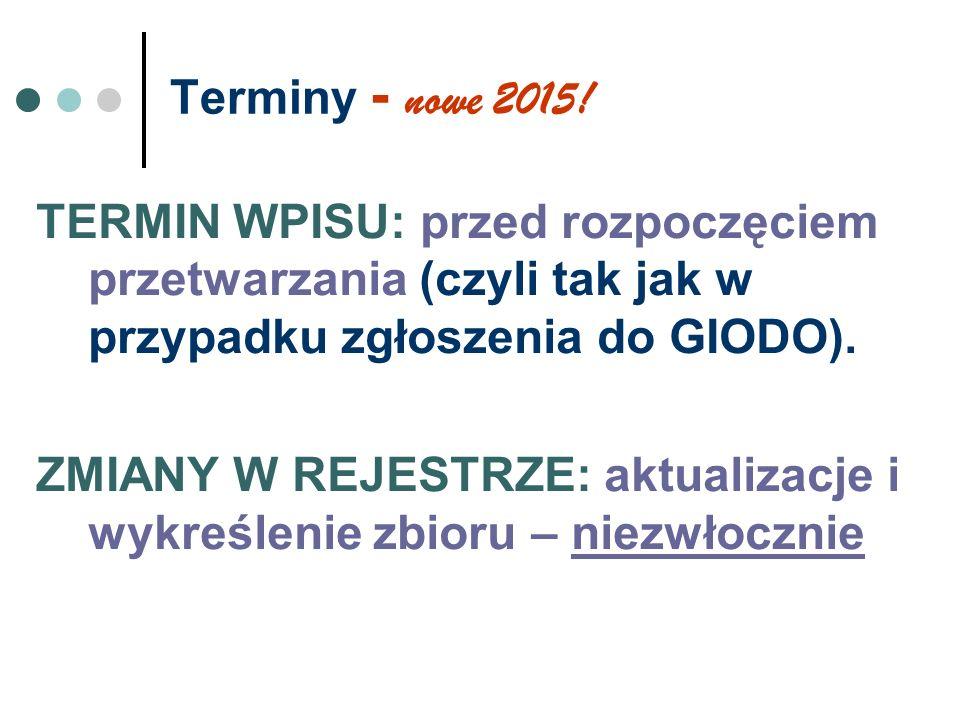 Terminy - nowe 2015! TERMIN WPISU: przed rozpoczęciem przetwarzania (czyli tak jak w przypadku zgłoszenia do GIODO).