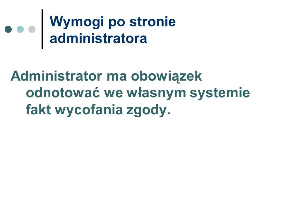 Wymogi po stronie administratora