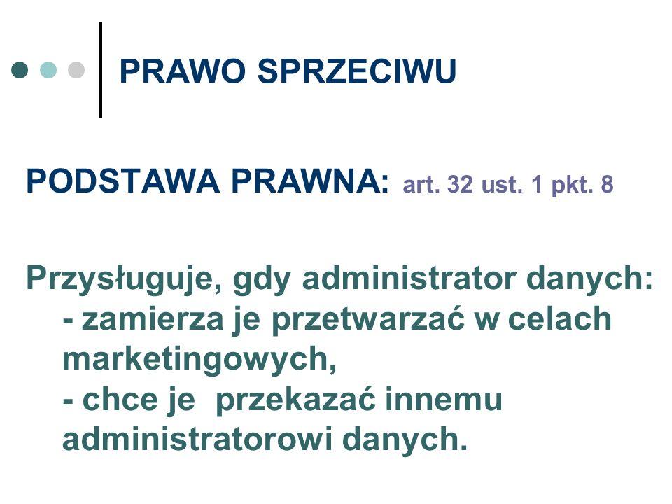 PRAWO SPRZECIWU PODSTAWA PRAWNA: art. 32 ust. 1 pkt. 8.