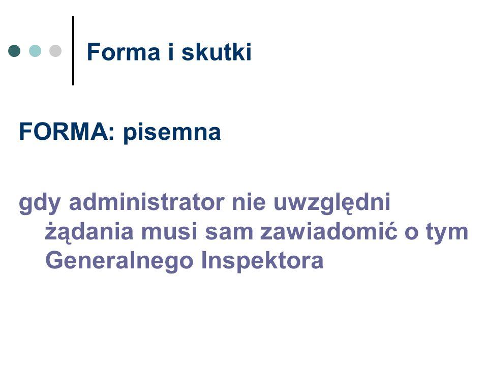 Forma i skutki FORMA: pisemna.