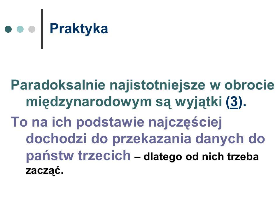 Praktyka Paradoksalnie najistotniejsze w obrocie międzynarodowym są wyjątki (3).