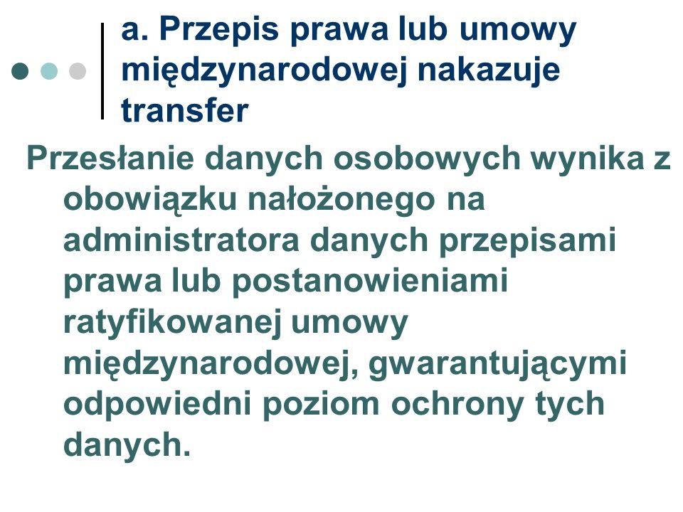 a. Przepis prawa lub umowy międzynarodowej nakazuje transfer