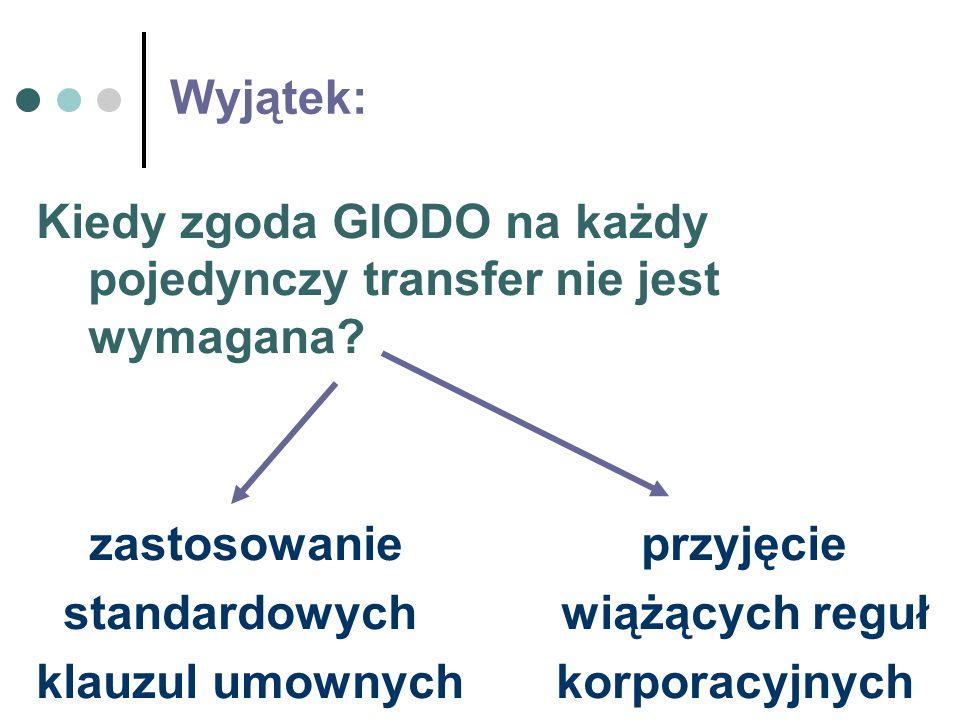 Wyjątek: Kiedy zgoda GIODO na każdy pojedynczy transfer nie jest wymagana zastosowanie przyjęcie.