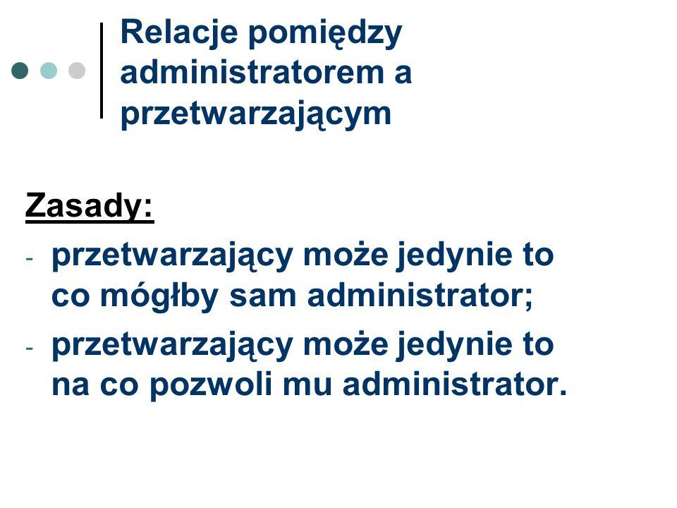 Relacje pomiędzy administratorem a przetwarzającym