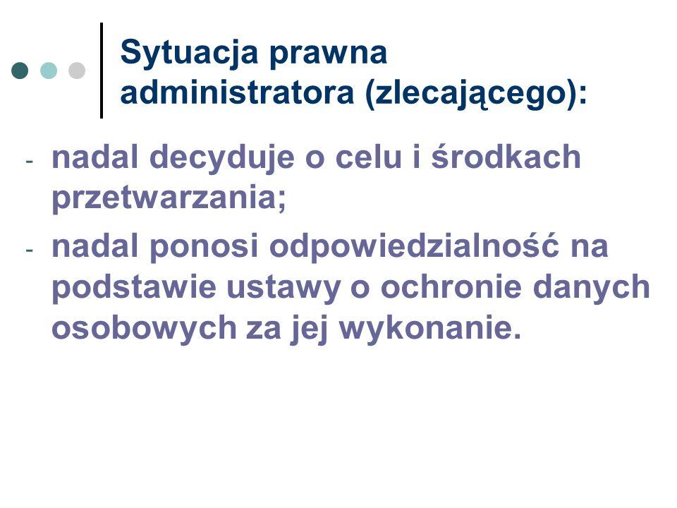 Sytuacja prawna administratora (zlecającego):