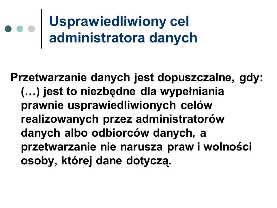 Usprawiedliwiony cel administratora danych