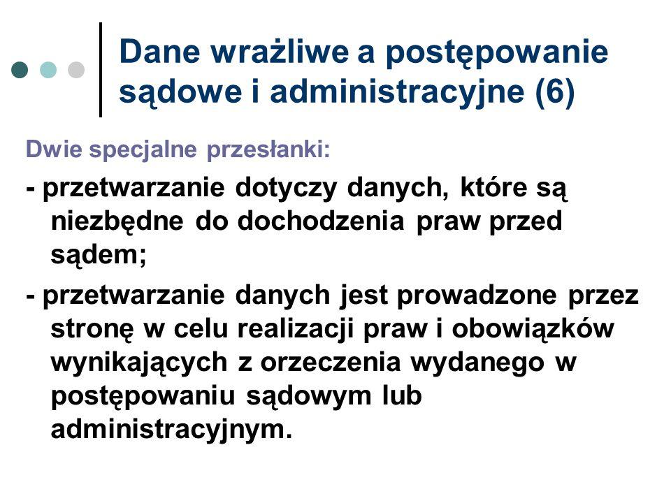 Dane wrażliwe a postępowanie sądowe i administracyjne (6)