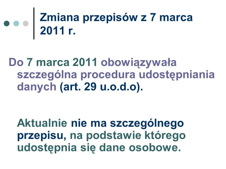 Zmiana przepisów z 7 marca 2011 r.