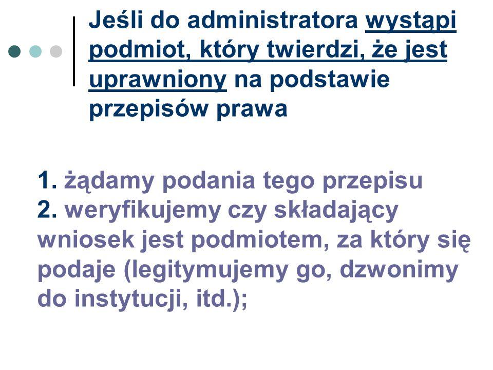 Jeśli do administratora wystąpi podmiot, który twierdzi, że jest uprawniony na podstawie przepisów prawa